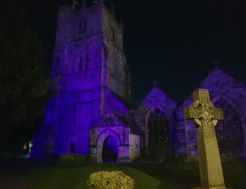 Oswestry's St Oswald's Church goes purple